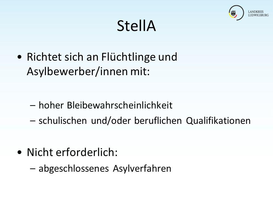 StellA Richtet sich an Flüchtlinge und Asylbewerber/innen mit: