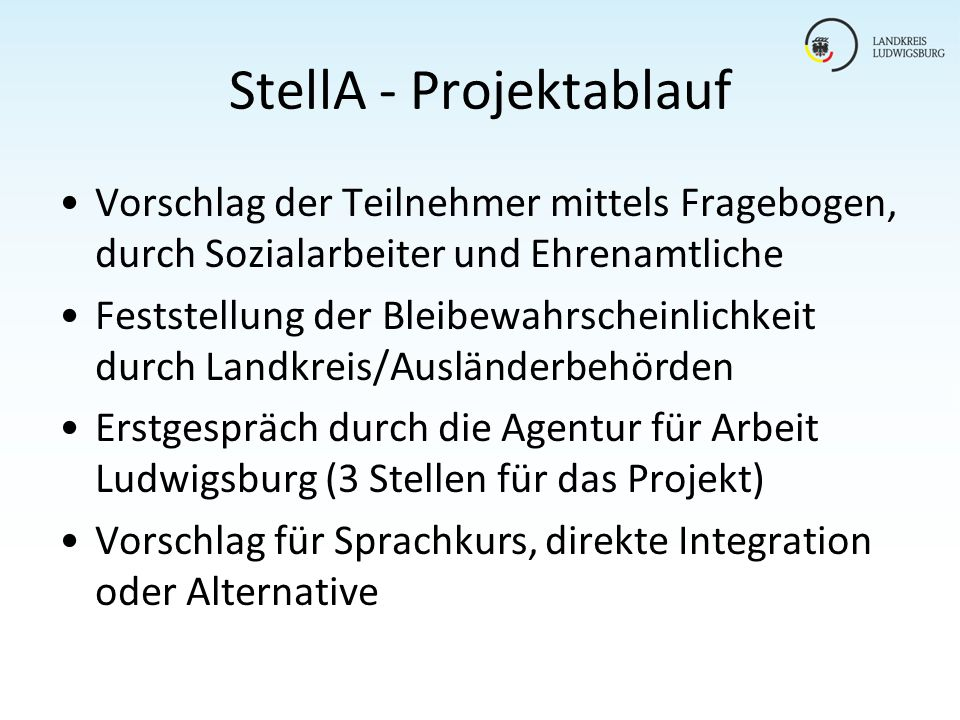 StellA - Projektablauf