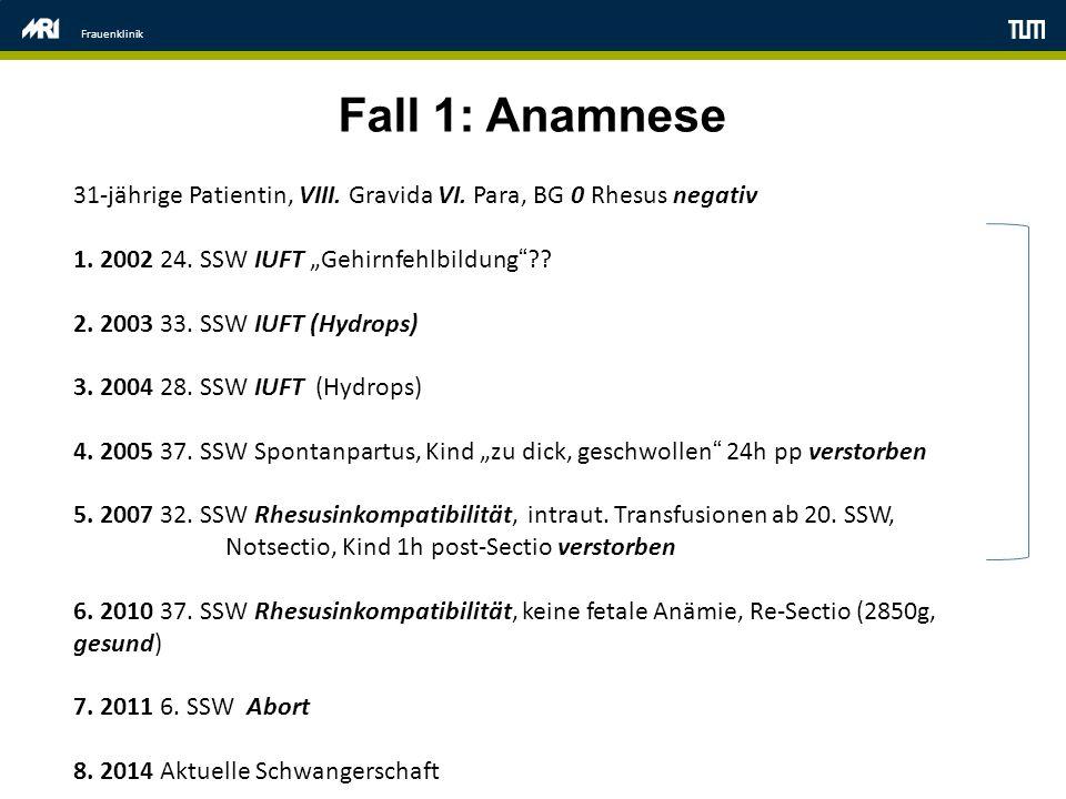 "Frauenklinik Fall 1: Anamnese. 31-jährige Patientin, VIII. Gravida VI. Para, BG 0 Rhesus negativ. 1. 2002 24. SSW IUFT ""Gehirnfehlbildung"