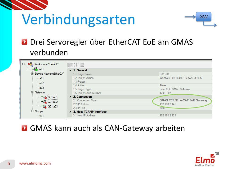 Verbindungsarten Drei Servoregler über EtherCAT EoE am GMAS verbunden