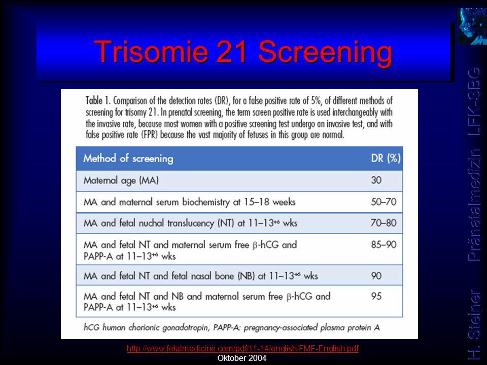 Trisomie 21 Screening http://www.fetalmedicine.com/pdf/11-14/english/FMF-English.pdf Oktober 2004