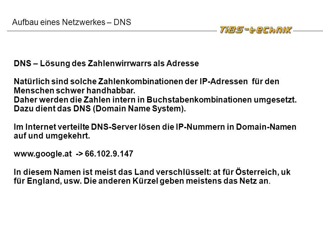Aufbau eines Netzwerkes – DNS