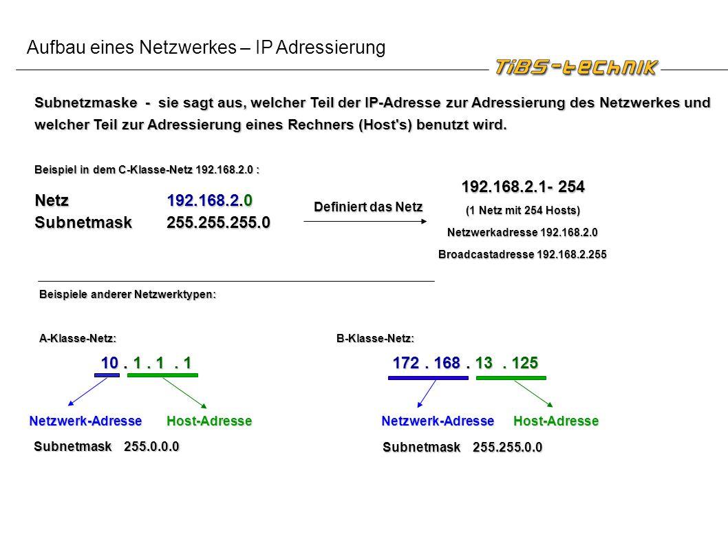 Aufbau eines Netzwerkes – IP Adressierung