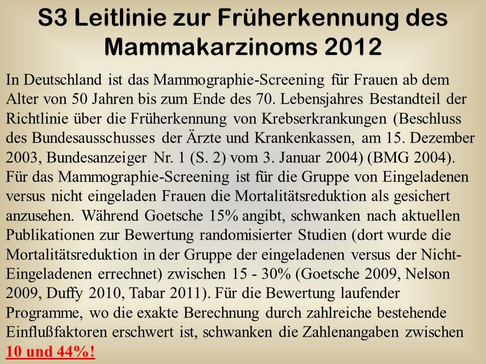 S3 Leitlinie zur Früherkennung des Mammakarzinoms 2012