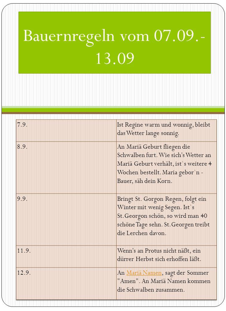 Bauernregeln vom 07.09.-13.09 7.9. Ist Regine warm und wonnig, bleibt das Wetter lange sonnig. 8.9.
