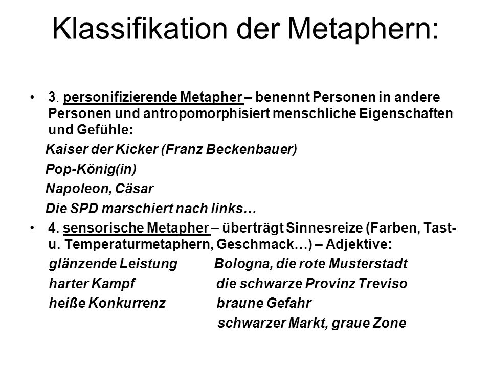 Klassifikation der Metaphern:
