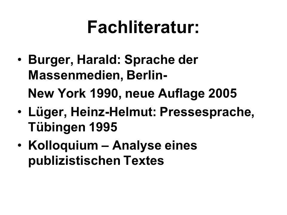 Fachliteratur: Burger, Harald: Sprache der Massenmedien, Berlin-