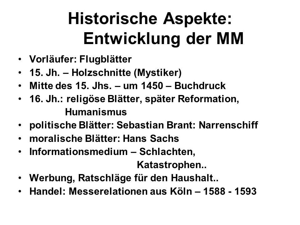 Historische Aspekte: Entwicklung der MM