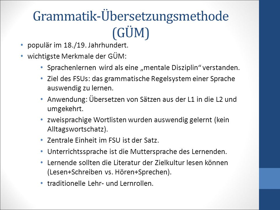 Grammatik-Übersetzungsmethode (GÜM)