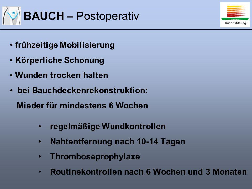 BAUCH – Postoperativ frühzeitige Mobilisierung Körperliche Schonung