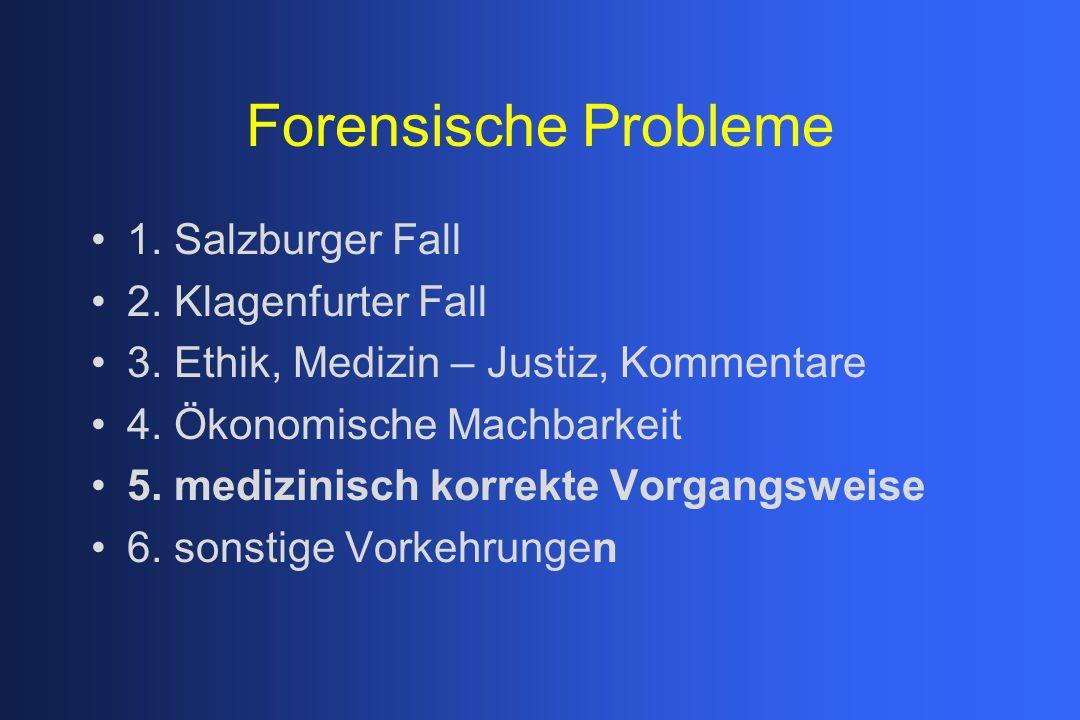 Forensische Probleme 1. Salzburger Fall 2. Klagenfurter Fall