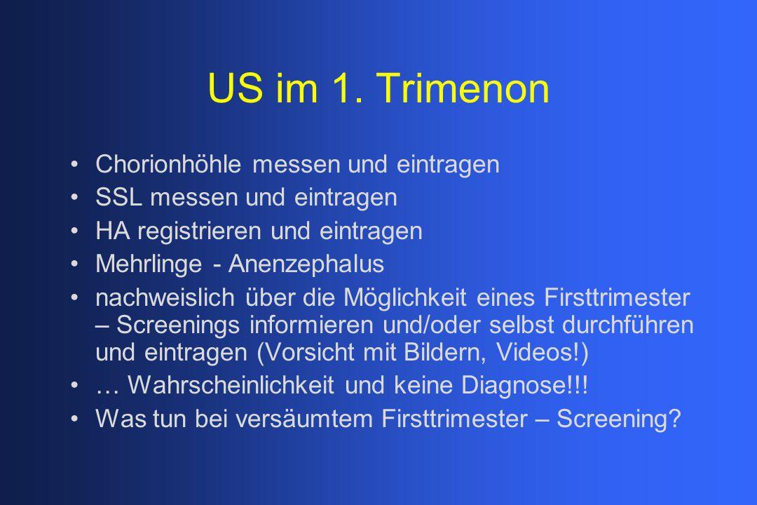 US im 1. Trimenon Chorionhöhle messen und eintragen