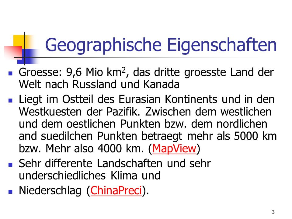 Geographische Eigenschaften