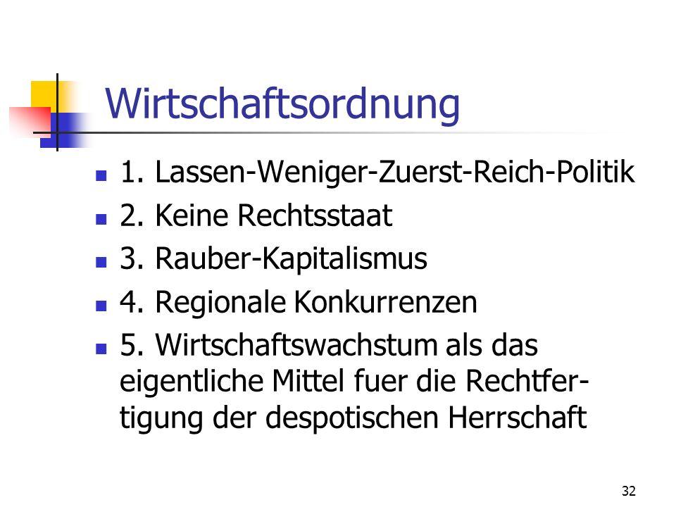 Wirtschaftsordnung 1. Lassen-Weniger-Zuerst-Reich-Politik
