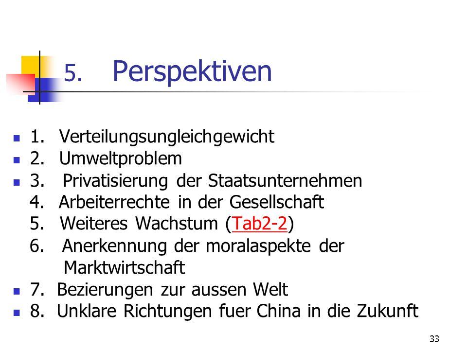 5. Perspektiven 1. Verteilungsungleichgewicht 2. Umweltproblem