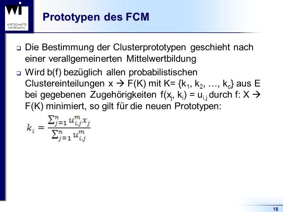 Prototypen des FCM Die Bestimmung der Clusterprototypen geschieht nach einer verallgemeinerten Mittelwertbildung.
