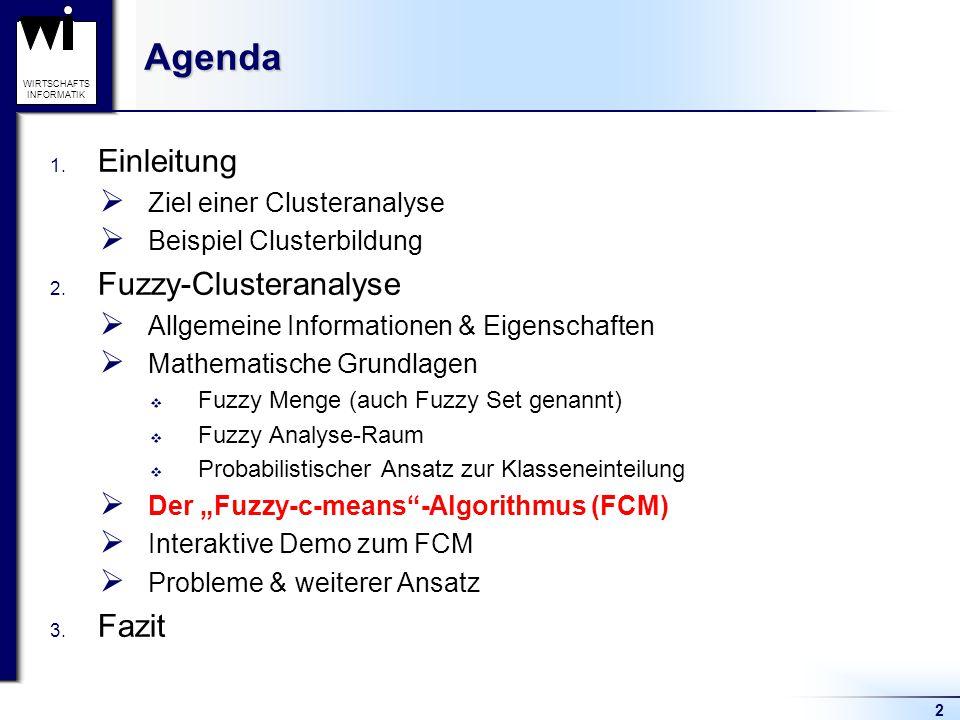 Agenda Einleitung Fuzzy-Clusteranalyse Fazit Ziel einer Clusteranalyse