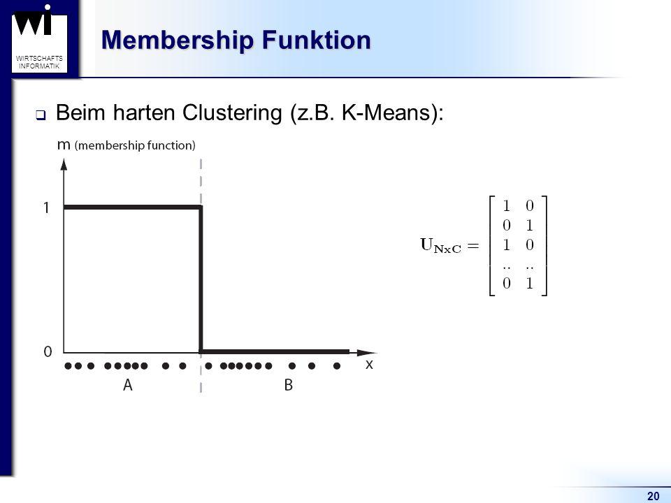Membership Funktion Beim harten Clustering (z.B. K-Means):