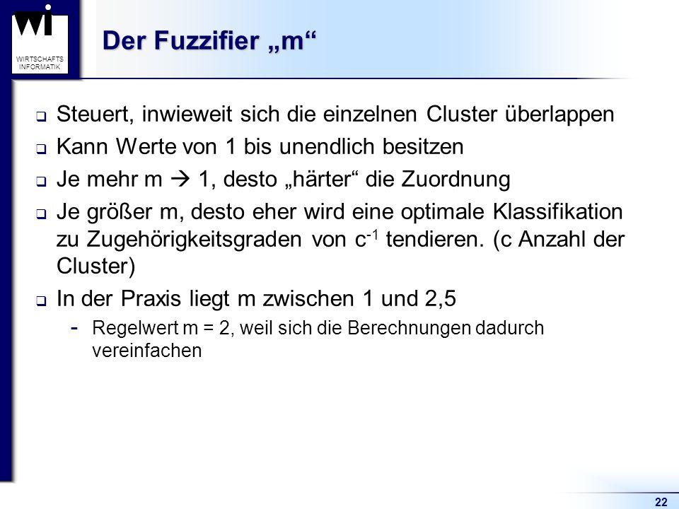 """Der Fuzzifier """"m Steuert, inwieweit sich die einzelnen Cluster überlappen. Kann Werte von 1 bis unendlich besitzen."""