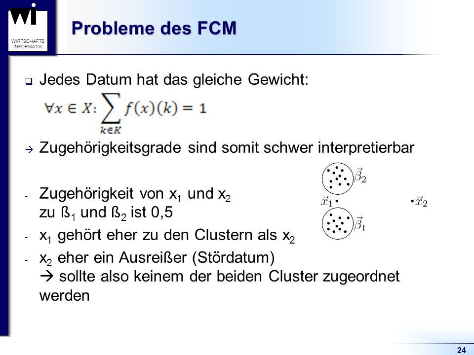 Probleme des FCM Jedes Datum hat das gleiche Gewicht: