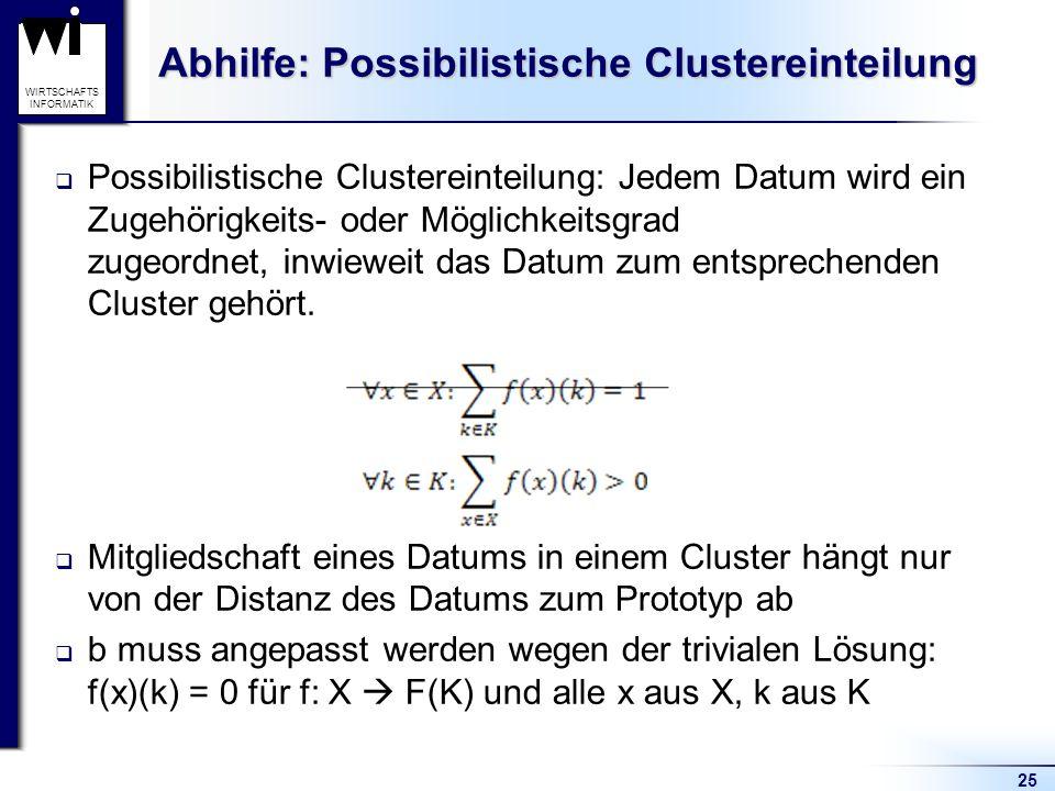 Abhilfe: Possibilistische Clustereinteilung