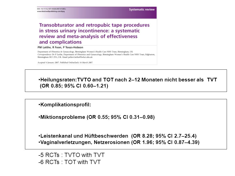 5 RCTs : TVTO with TVT 6 RCTs : TOT with TVT