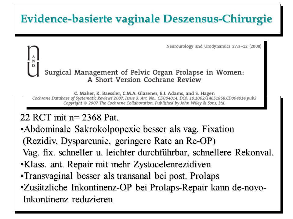 Evidence-basierte vaginale Deszensus-Chirurgie
