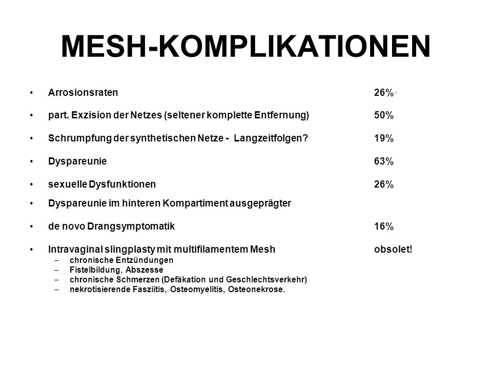 MESH-KOMPLIKATIONEN Arrosionsraten 26% .