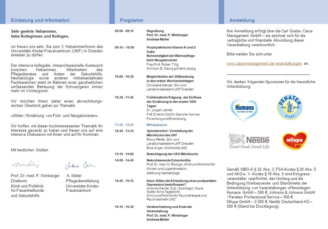 Einladung und Information Programm Anmeldung