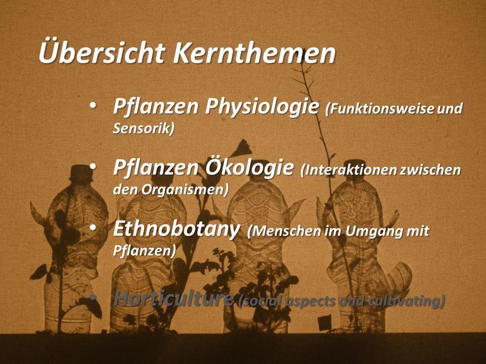 Übersicht Kernthemen Pflanzen Physiologie (Funktionsweise und Sensorik) Pflanzen Ökologie (Interaktionen zwischen den Organismen)
