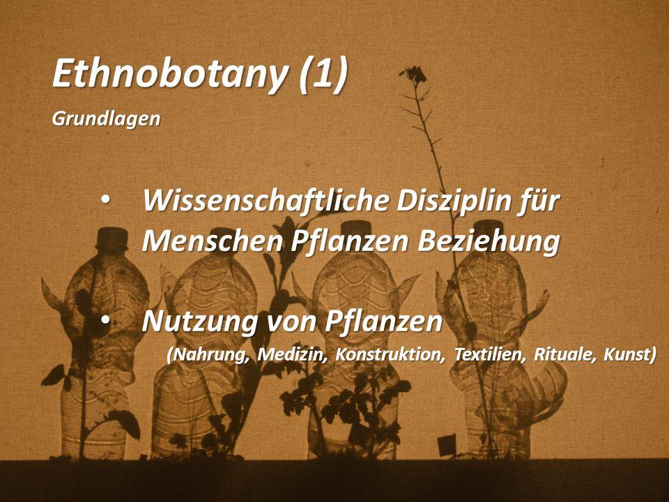 Ethnobotany (1) Grundlagen. Wissenschaftliche Disziplin für Menschen Pflanzen Beziehung. Nutzung von Pflanzen.