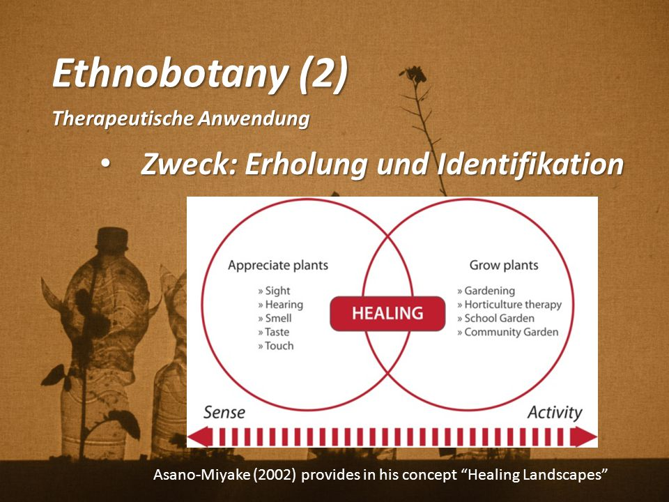 Ethnobotany (2) Zweck: Erholung und Identifikation