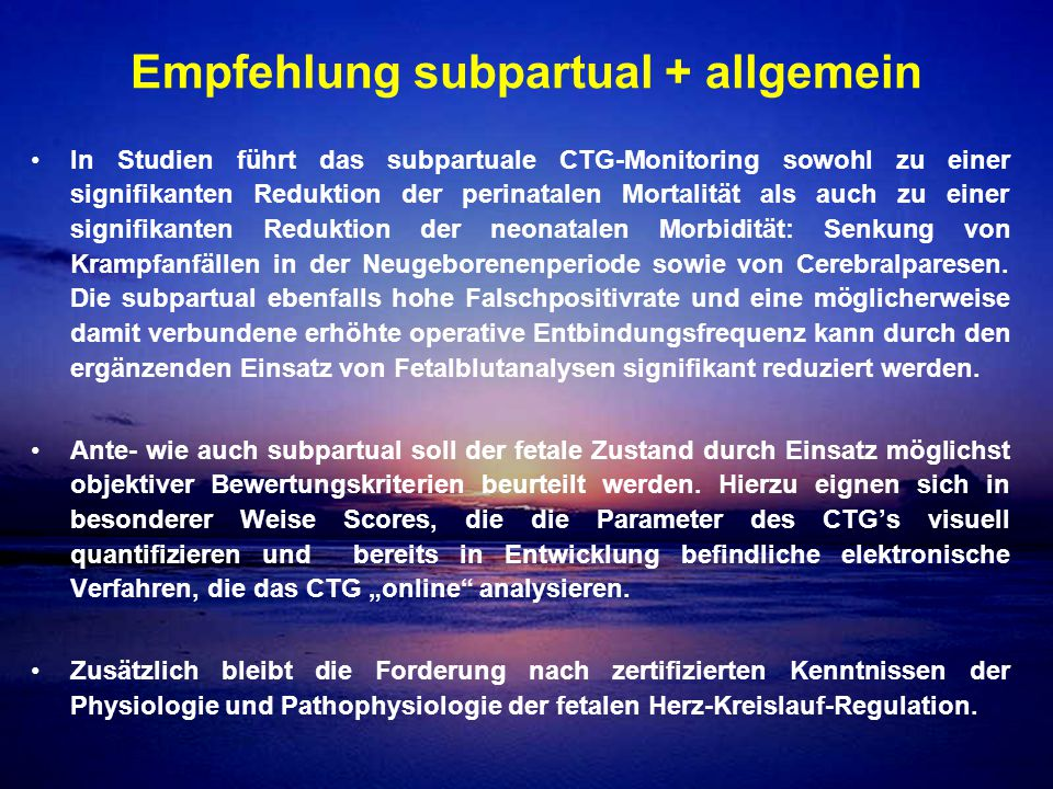 Empfehlung subpartual + allgemein