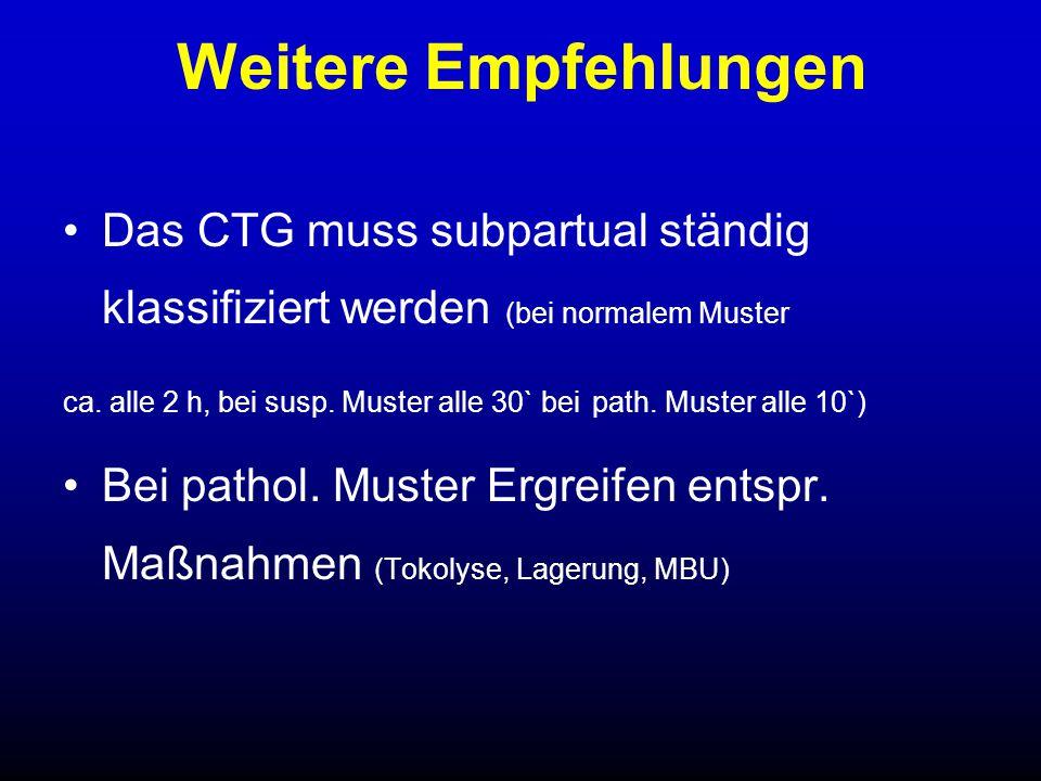 Weitere Empfehlungen Das CTG muss subpartual ständig klassifiziert werden (bei normalem Muster.