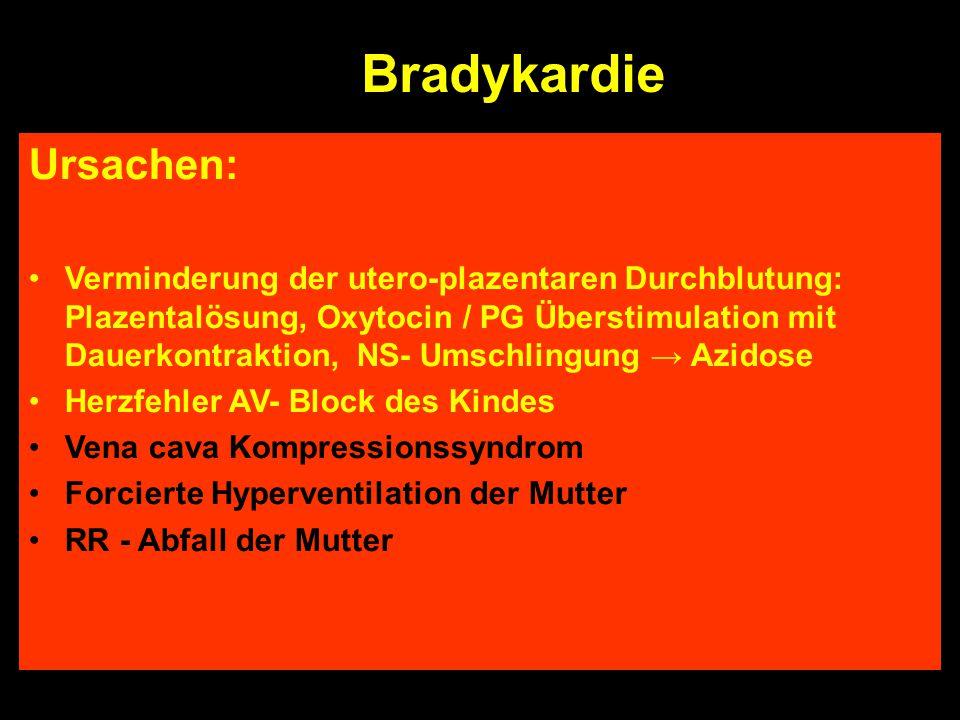 Bradykardie Ursachen: Tachykardie - Ursachen Fetale Hypoxämie