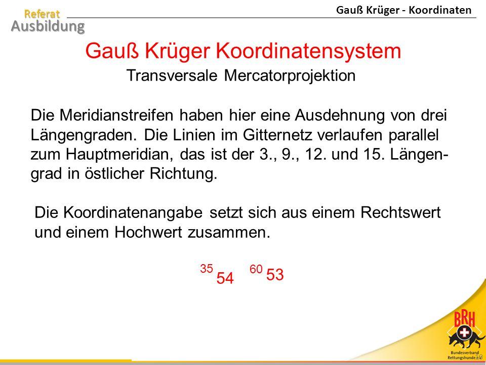 Gauß Krüger Koordinatensystem