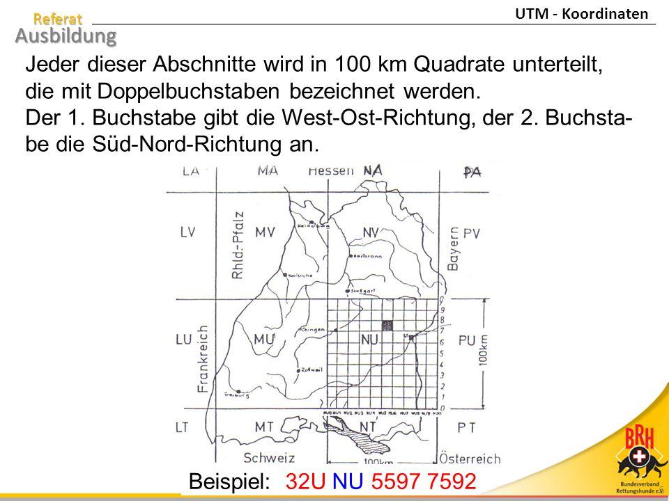 Jeder dieser Abschnitte wird in 100 km Quadrate unterteilt,
