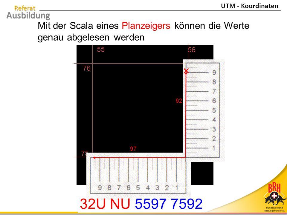 32U NU 5597 7592 Mit der Scala eines Planzeigers können die Werte