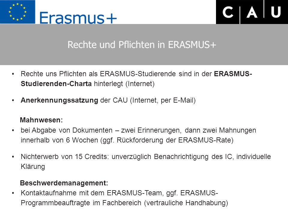 Rechte und Pflichten in ERASMUS+