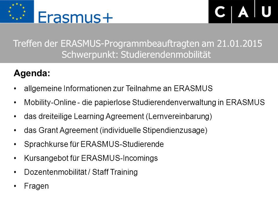 Treffen der ERASMUS-Programmbeauftragten am 21.01.2015