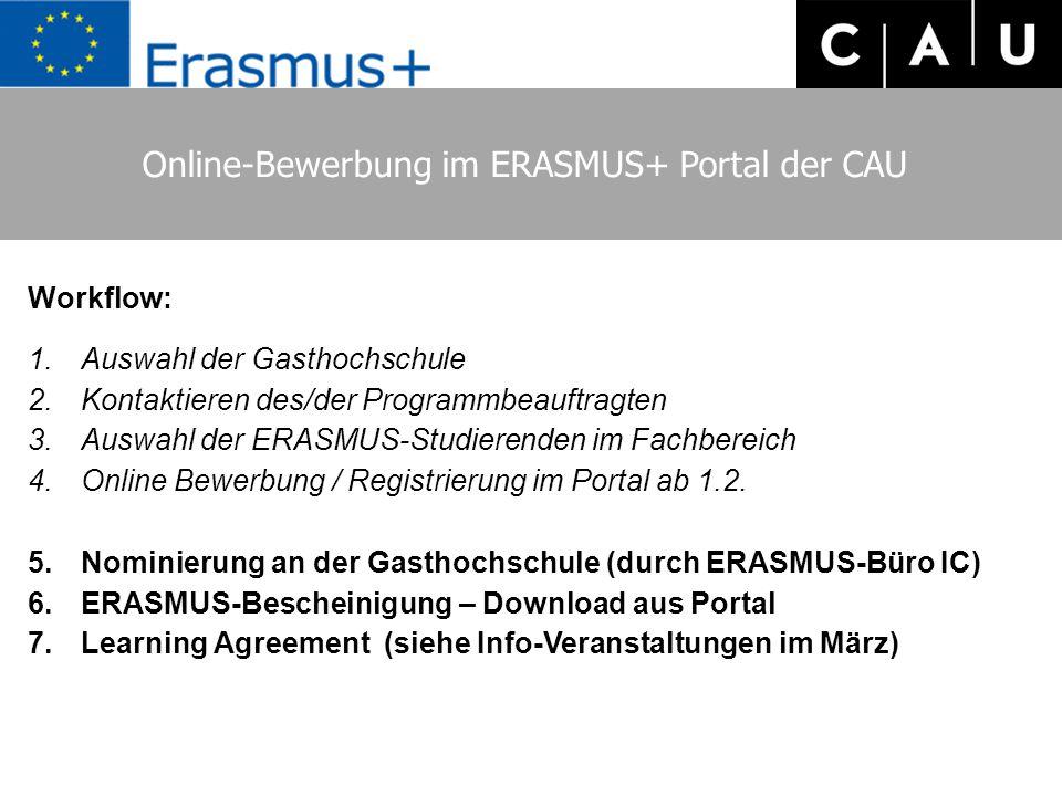 Online-Bewerbung im ERASMUS+ Portal der CAU