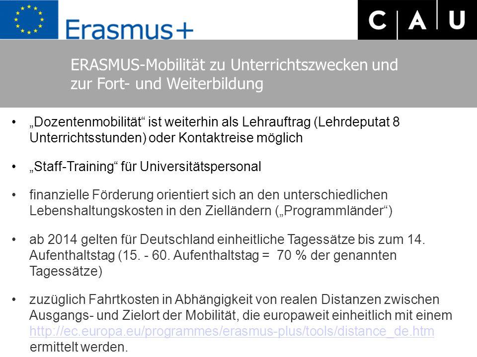 ERASMUS-Mobilität zu Unterrichtszwecken und zur Fort- und Weiterbildung