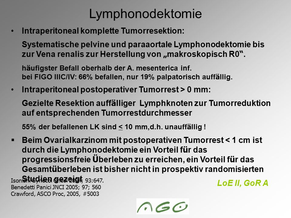 Lymphonodektomie Intraperitoneal komplette Tumorresektion: