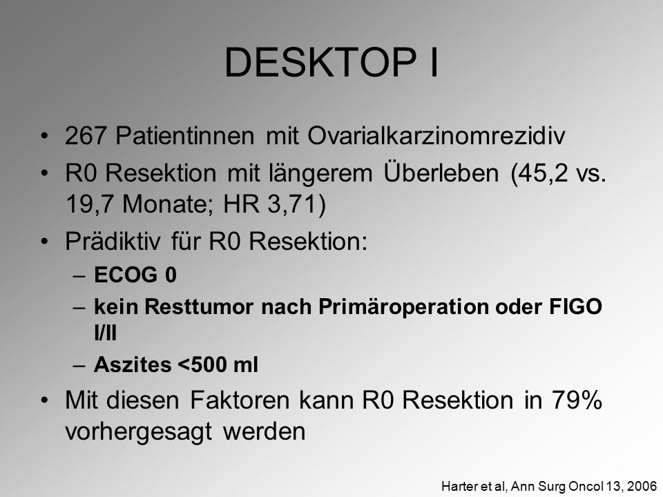 DESKTOP I 267 Patientinnen mit Ovarialkarzinomrezidiv