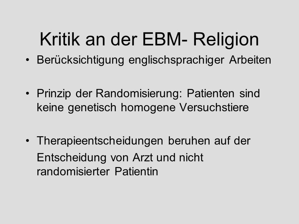 Kritik an der EBM- Religion