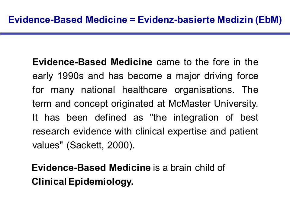 Evidence-Based Medicine = Evidenz-basierte Medizin (EbM)