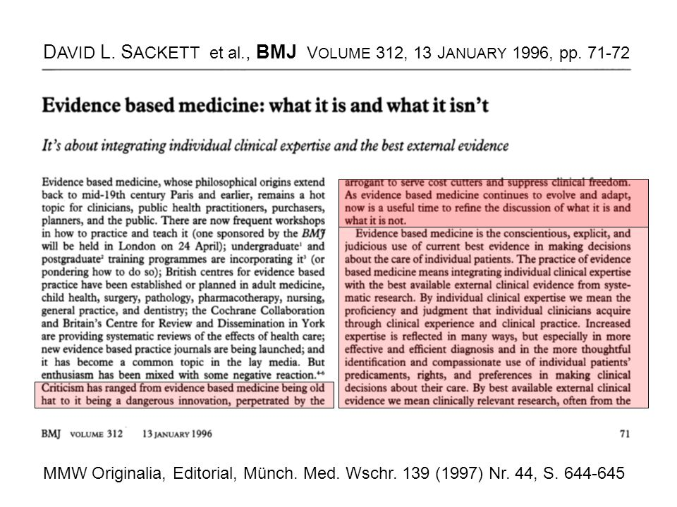 DAVID L. SACKETT et al., BMJ VOLUME 312, 13 JANUARY 1996, pp. 71-72