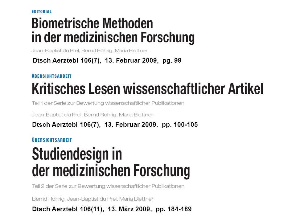 Dtsch Aerztebl 106(7), 13. Februar 2009, pg. 99