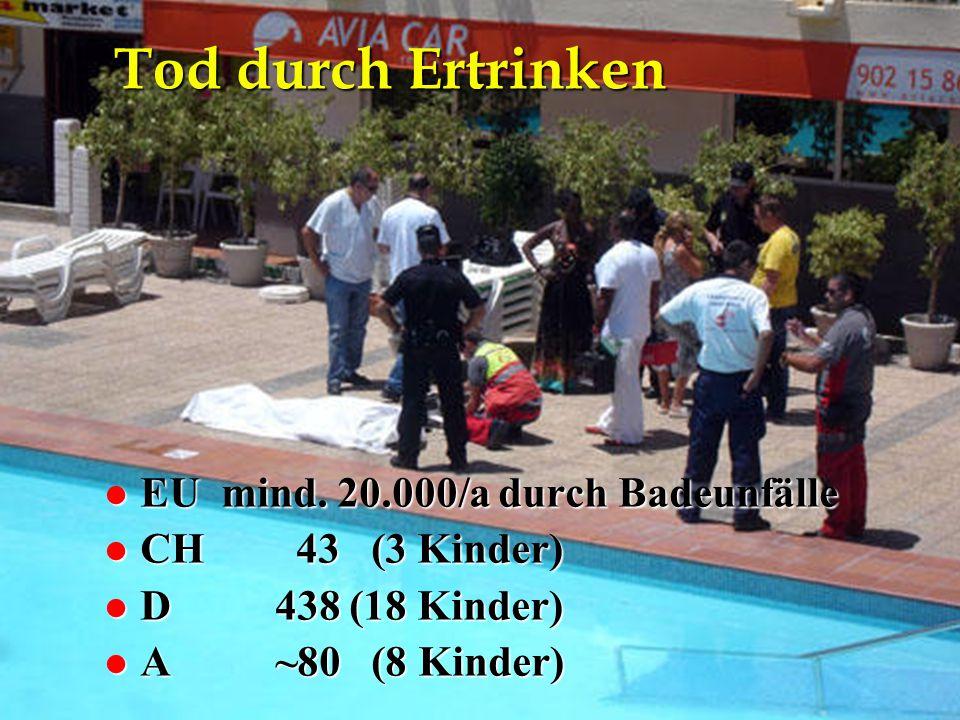 Tod durch Ertrinken EU mind. 20.000/a durch Badeunfälle