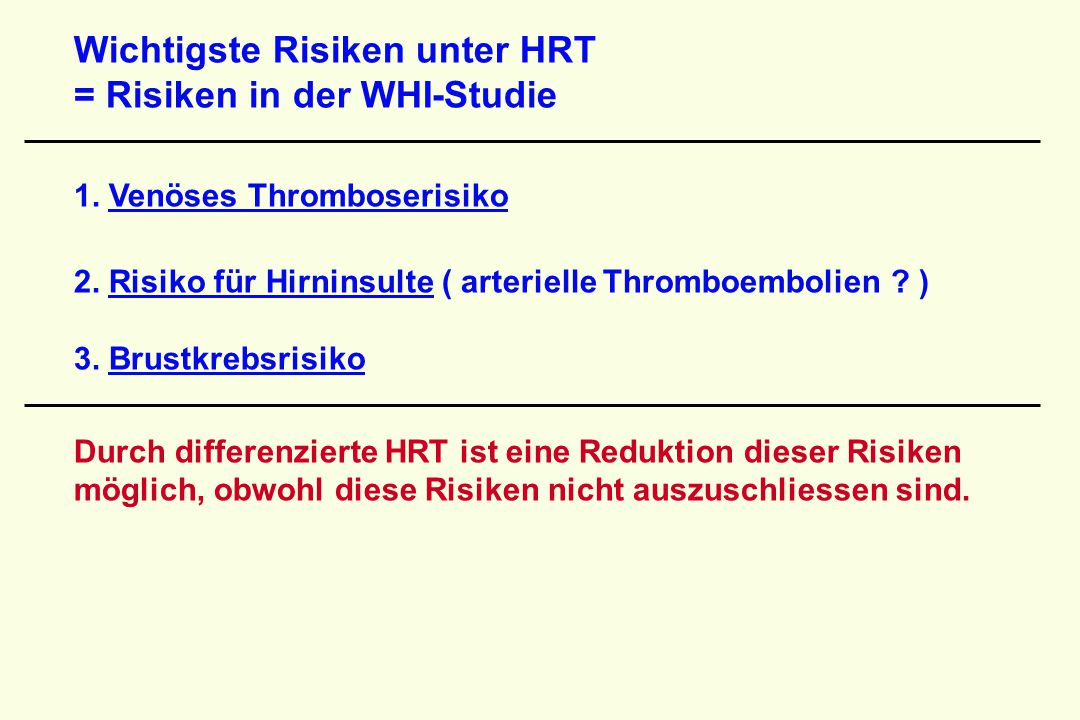 Wichtigste Risiken unter HRT = Risiken in der WHI-Studie